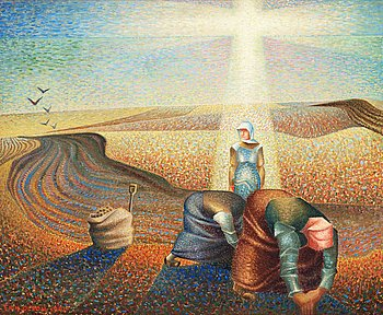 ERIK OLSON, Potato field at dawn. Signed Erik Olson and dated 1941. Canvas 54 x 64 cm.