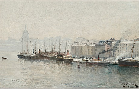 Alfred wahlberg, winter scene from skeppsbron, stockholm.