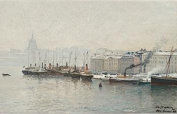 3. Alfred Wahlberg, Vintervy över Skeppsbron, Stockholm.