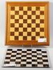 SchackbrÄdor, 2 st olika, trä resp plexiglas. 1900-tal.