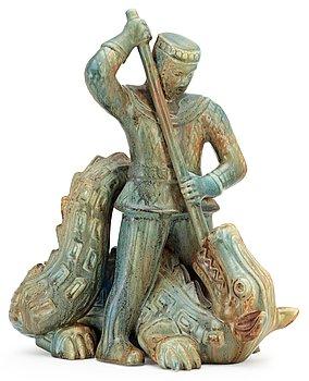 356. GUNNAR NYLUND Skulptur, S:t Mikael och draken, Rörstrand.