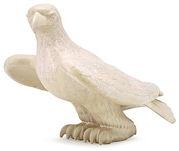 A Gunnar Nylund stoneware figure of an eagle, Rörstrand. Height 30,5 cm, length 42 cm.