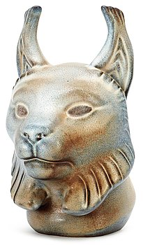 A Gunnar Nylund stoneware figure of a lynx head, Rörstrand. Height 23 cm.