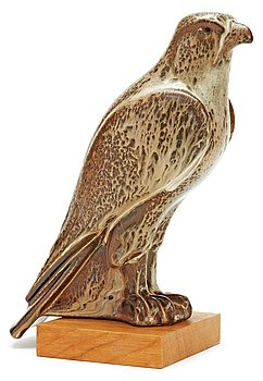 A Gunnar Nylund stoneware figure of a falcon, Rörstrand. Height 27 cm.