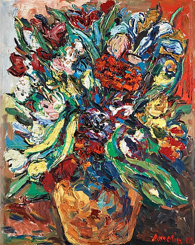 Albin amelin, still life with flowers.