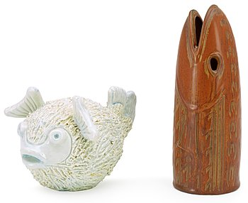 Two Gunnar Nylund stoneware figures of fishes, Rörstrand. Height 13-22,5 cm.