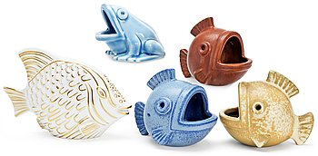 A set of five Gunnar Nylund stoneware figures of a frog and four fishes, Rörstrand. Height 9-15 cm.