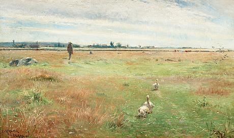 Nils kreuger, landscape with geese, mörbylånga.