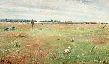 41. NILS KREUGER, Landskap med gäss, Mörbylånga.
