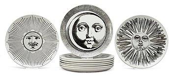 12. A set of nine Piero Fornasetti 'Sun and Moon' plates, Milano, Italy.
