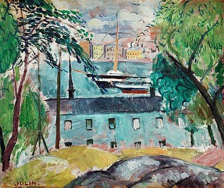 """Einar jolin, """"skeppsholmen med 'vanadis'"""" (view from skeppsholmen, stockholm)."""
