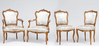 14. ARMCHAIRS, 2 PCS AND CHAIRS 2 PCS.