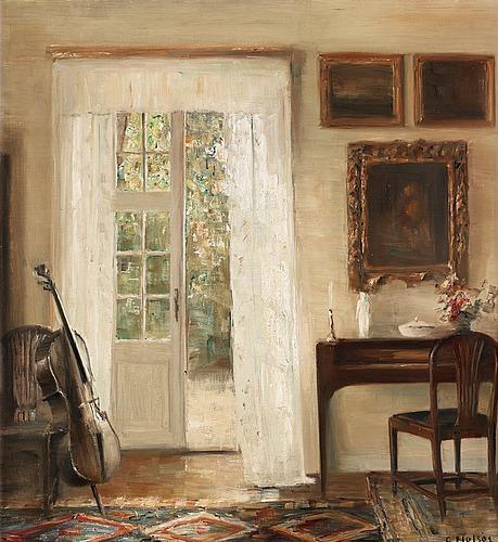 Carl holsoe, interior with a cello.