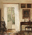 CARL HOLSOE, Interior with a cello. Signed ...