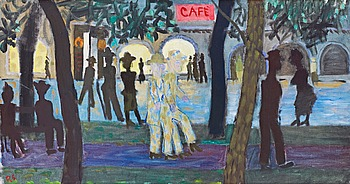 "RAGNAR SANDBERG, ""Allén vid Järntorget"" (The ally by the square). Signed RS. Executed in 1940. Canvas 47 x 89.5 cm."