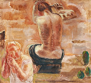 "VERA NILSSON, ""Badande"" (Bathing). Signed VN. Executed in 1926. Canvas 75 x 81 cm."