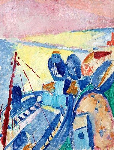 """Sigrid hjertén, """"blå pråmar"""" (blue boats)."""