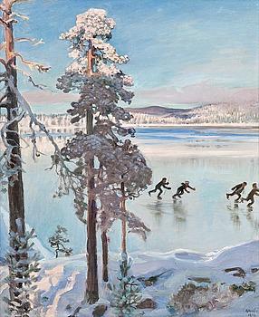 """236. Akseli Gallen-Kallela, """"SKATERS NEAR THE SHORE OF KALELA""""."""