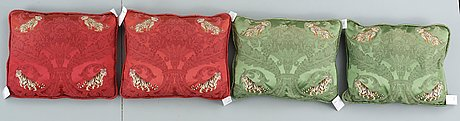 Cushions, 4. probably france, second half of the 20th century. ca 45 x 56 cm each.