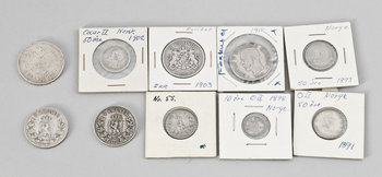 215748. MYNT, 10 st, silver, Norge, Sverige samt Ryssland, 1800-tal.
