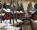 OLAVI LAINE, RED CABINS. Sign. Oil on canva...