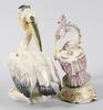 Figuriner, 2 st, porslin, bla hutschenreuther. 1900-tal.