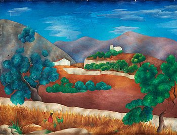 SVEN WESTMAN, Landscape from Genova, Mallorca. Signed with monogram. Executed in 1926-1927. Canvas 49.5 x...