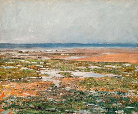Carl fredrik hill, beach scene from luc-sur-mer.