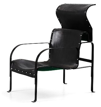 44. A John Kandell black lacquered metal and black leather easy chair, 'Singel', Källemo, Värnamo, Sweden 1982.