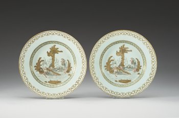 55. A pair of Grisaille dishes, Presumably Samson, 19th Century.
