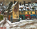 OLAVI LAINE, COLOURFUL HOUSES IN THE SNOW. ...
