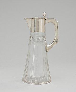 92. A glass and silver jug, Austria 1901-1921.