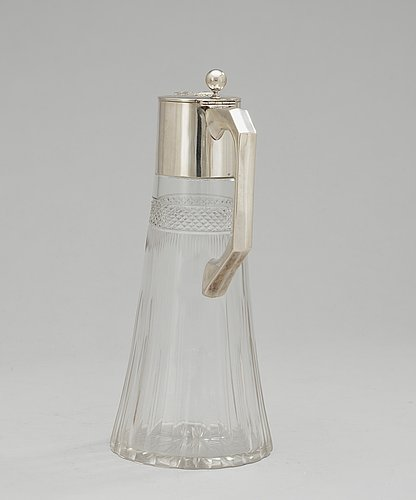A glass and silver jug, austria 1901-1921.