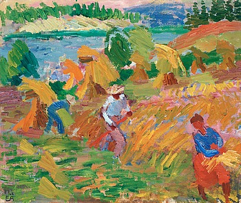 ERLING ÄRLINGSSON, Harvest. Signed EÄ. Canvas 50.5 x 62 cm.