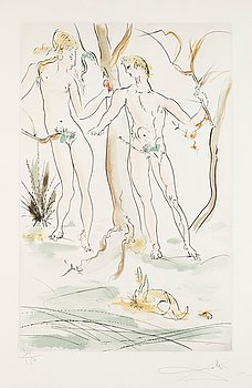 """74. Salvador Dalí, """"Adam and Eve"""" from """"New Mythological Suite""""."""