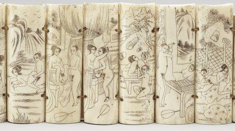 Twelve chinese bone panels, 20th century.