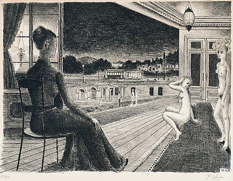 """Paul delvaux, """"devant la ville""""."""