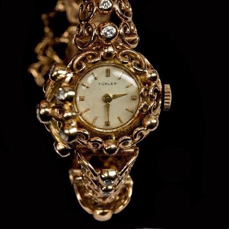 Ladies wrist watch, türler, brilliant cut diamonds, tot. 0.70 cts.