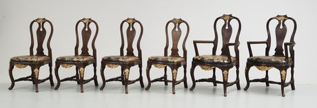 A set of 12 rococostyle chairs, 20 th century.