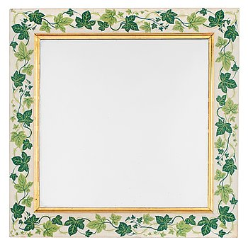 A Svenskt Tenn mirror attributed to Estrid Ericson, the frame covered in fabric.