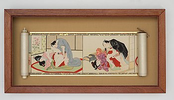 106. A painting on silk with 12 differernt shunga motif. 20th Century Kina.
