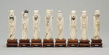 111. A set of eight ivory figures, China early 20th Century.