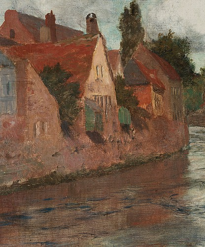 Frits thaulow, old houses at somme in abbéville.