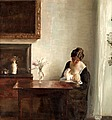 CARL HOLSOE, Interior with woman and child....