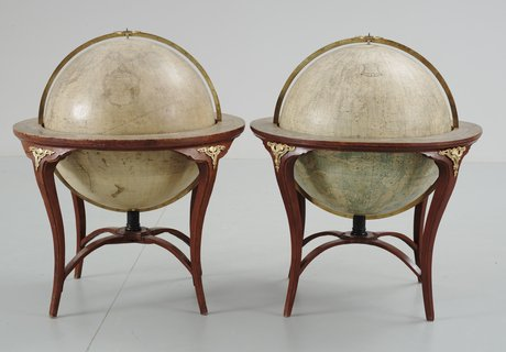 A pair of swedish terrestial and celestial globes by anders Åkerman 1766 and fredrik akrel 1791.