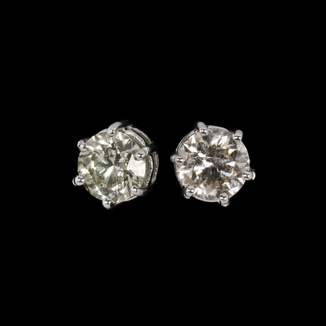 Earstuds, pair of brilliant cut diamonds, tot. 2.20 cts.