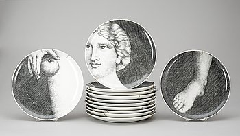 142. A set of twelve Fornasetti 'Eva' porcelain plates, Milano, Italy.