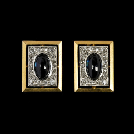 Cufflinks, blue cabochon cut sapphires set with small diamonds. st petersburg, early 20th century.