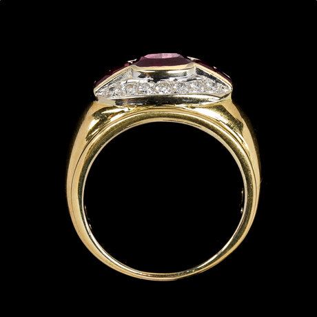 Ring, rubies with brilliant cut diamonds, tot. app. 0.40 cts.