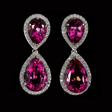 Earrings, drop cut pink topaz with brilliant cut diamonds, tot. 0.60 cts.